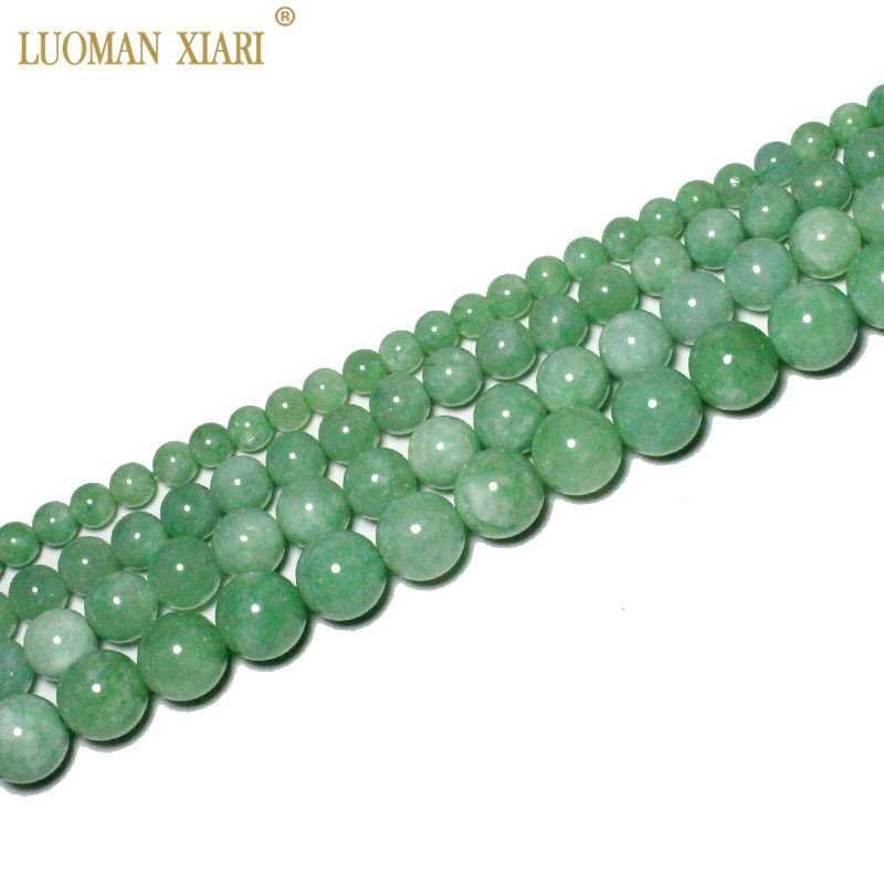 Fine AAA 100% Natural Burmese Green Jade Round Stone Beads For Jewelry Making DIY Bracelet Necklace 6/8/10/12 Mm Strand 15''