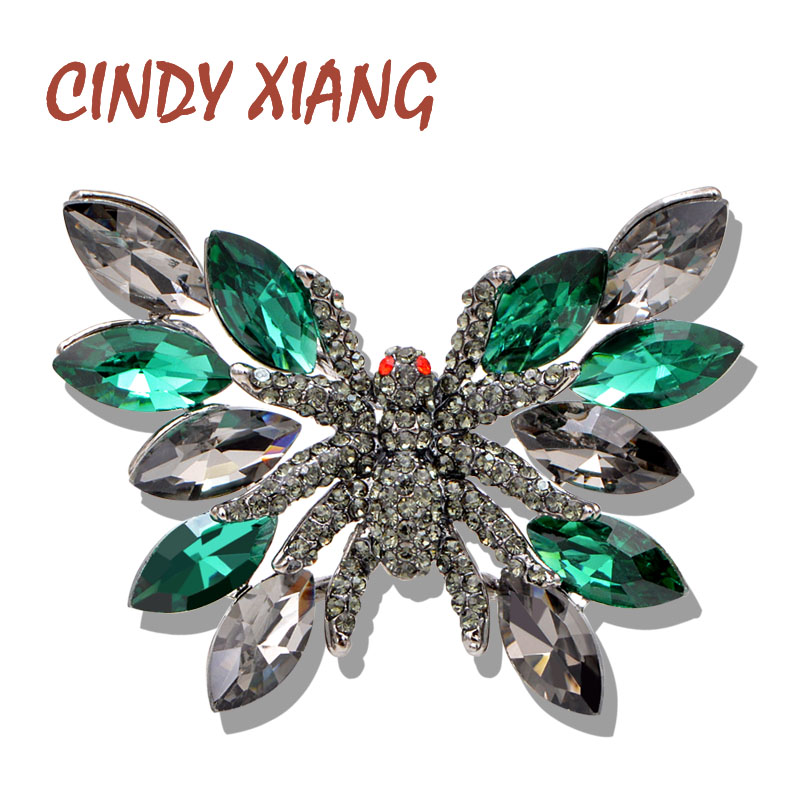 CINDY XIANG Crystal Green Color Butterfly Brooch Wedding Bouquet Booches For Women Insect Pin Coat Dress Jewelry Bag Accessories
