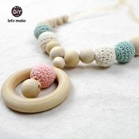 Blue Cyan Aqua Nursing Rings Necklace Girls Crochet Necklace Mammy And Baby Teething Necklace