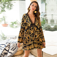 Beach Dresses 2018 Summer Clothes For Women Cover Up Women's Clothing Pareo Tunic Pareos Posed Neck Dress Hollow Print Velvet