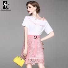 f3d6129a0d2c Primavera Verano mujer ropa set Rosa letra patrón bordado pecho x-long blanco  camiseta ahueca hacia fuera falda de encaje de col.