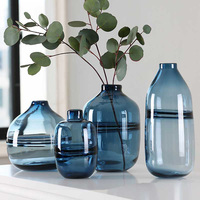 Modern Transparent Blue Glass Flower Vases Decorative Vases Modern Tabletop Vase Office Decoration Gifts The Best Business Gift