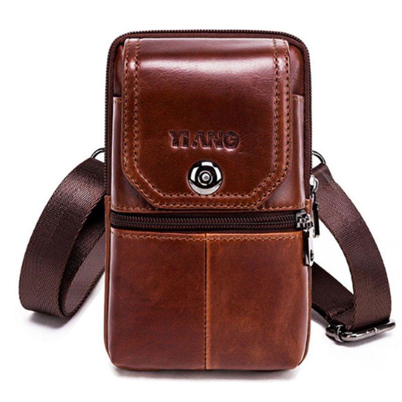 Yiang Genuine Leather Mini Shoulder Messenger Bag Men'S Waist Belt Pack Hip Bum Purse Cell/Mobile Phone Case Model 5