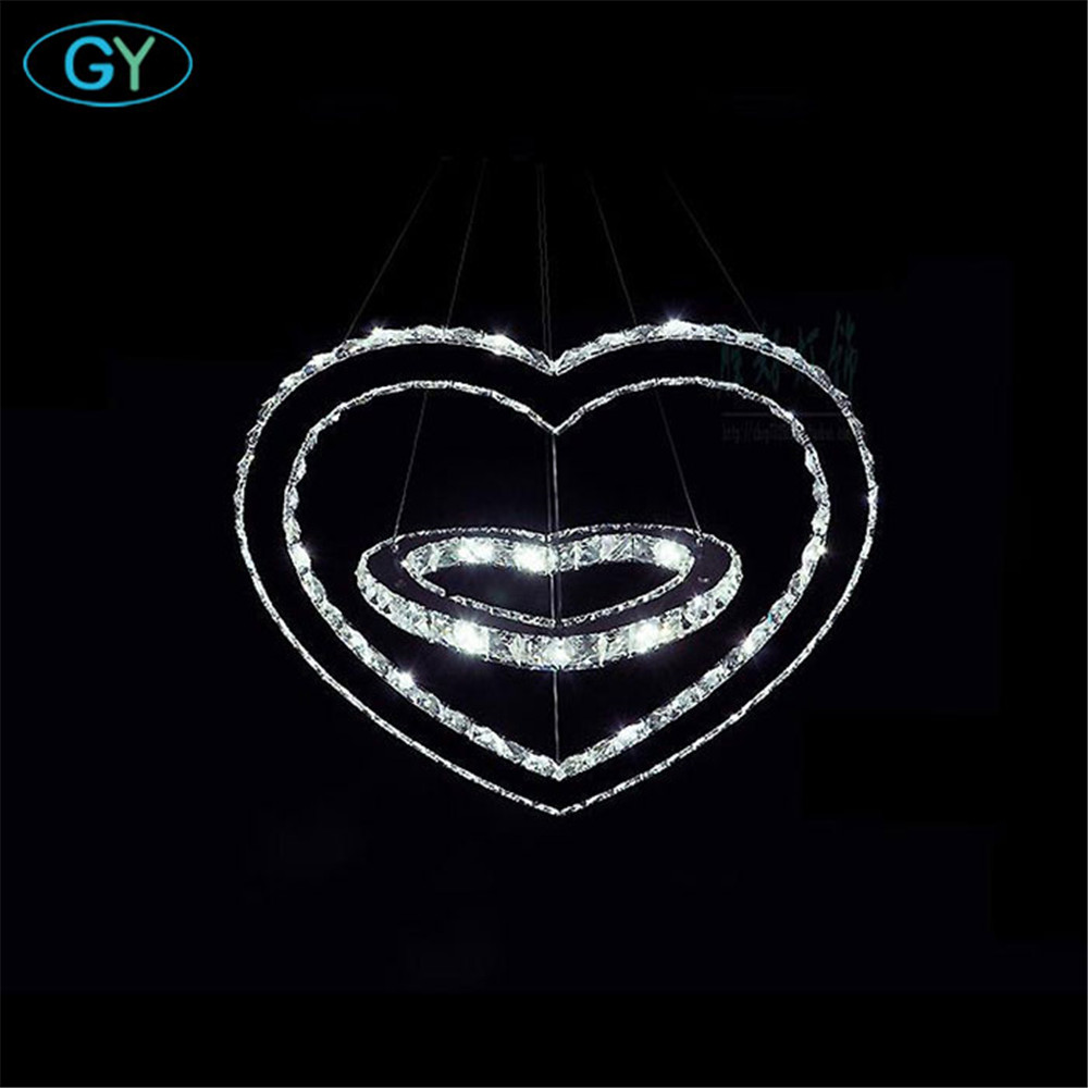 AC100 240 Modern Crystal LED Chandelier Ceiling Pendant Mount Lighting 43W Luminaire Double Heart Shape wedding decoration