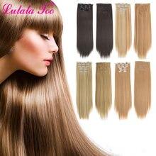 Прямые накладные волосы на заколке Синтетические длинные всю