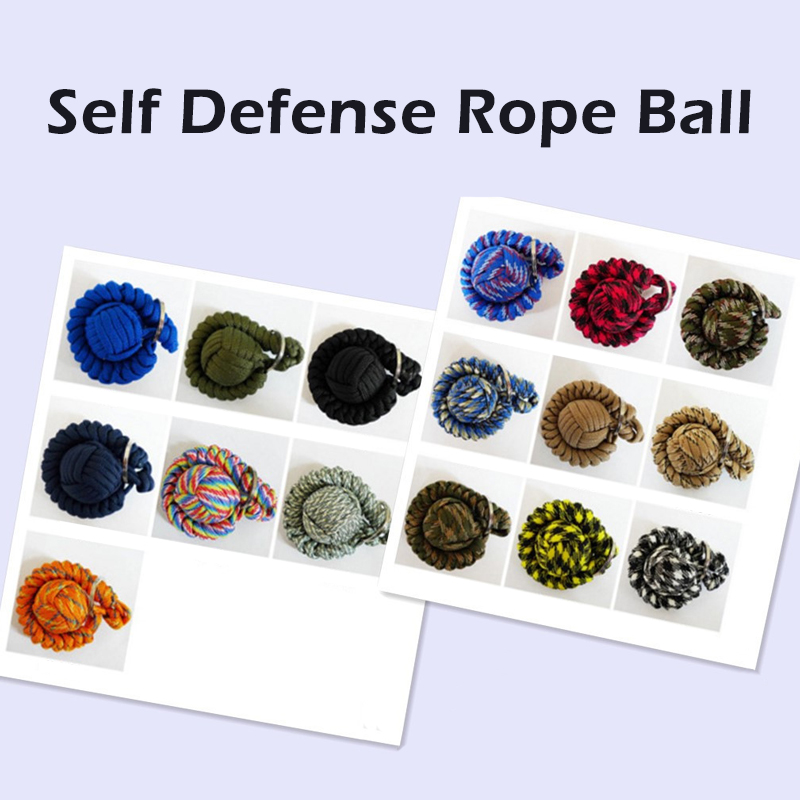 10 Colors Outdoor Security Protection Monkey Fist Steel Ball For Girl Bearing Self Defense Survival Key Chain Broken Windows
