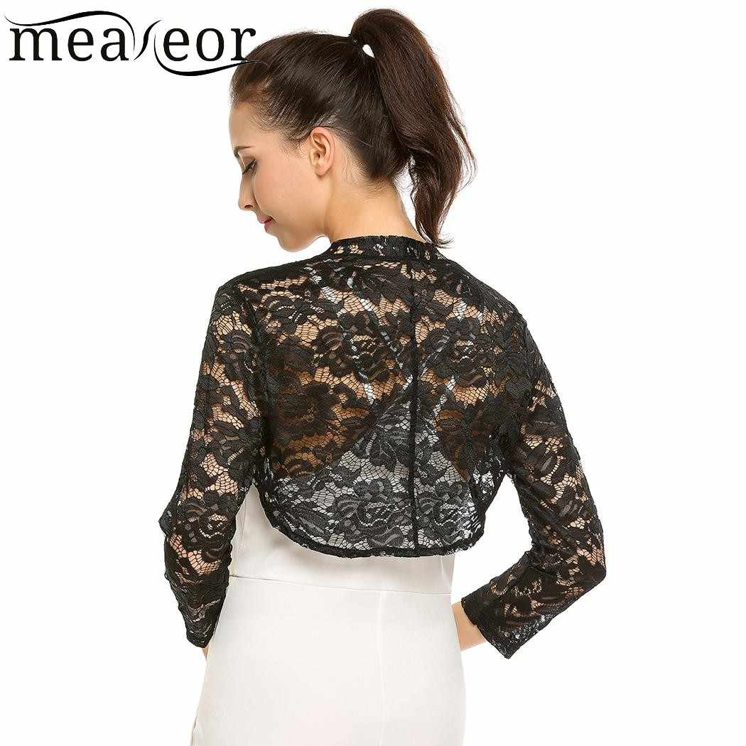 4d4b3f472e9b2 Meaneor Women Lace Floral Autumn Cardigans Front Open Bolero Feminine  Cardigan Tops See-through Casual