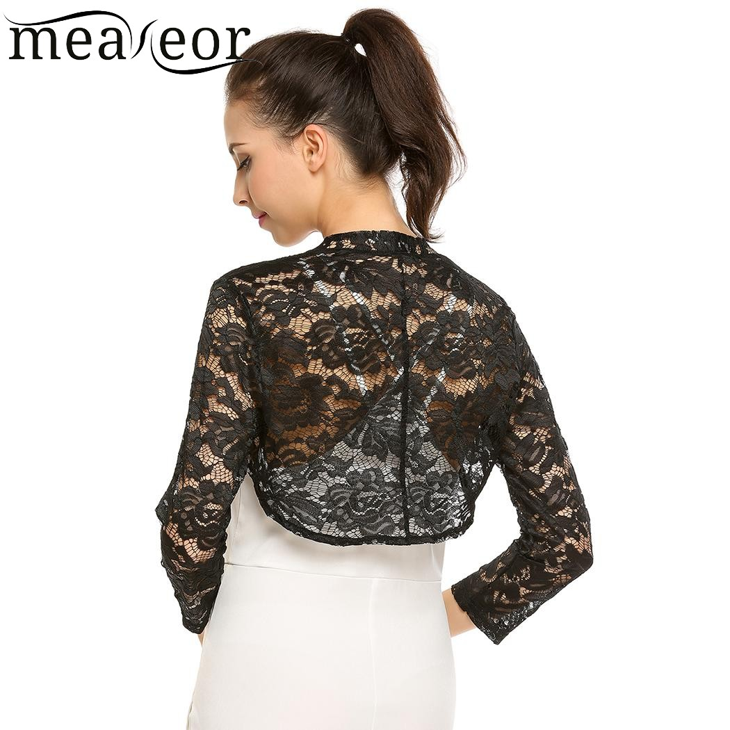 Meaneor Women Lace Floral Autumn Cardigans Front Open Bolero Feminine Cardigan Tops See-through Casual 3/4 Sleeve Slim Tops