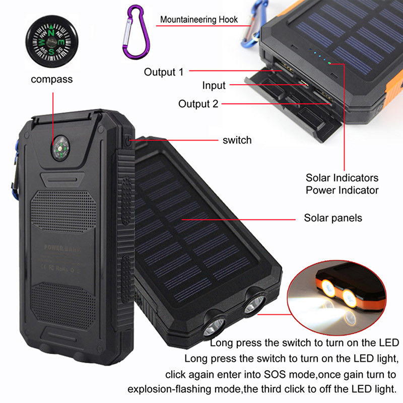 100% Quality Waterproof 50000mah Solar Panel Led Dual Usb Ports Mobile Phone Adapters No Battery Diy Power Bank Case Battery Charger Kits Box Attractive Fashion Cellphones & Telecommunications
