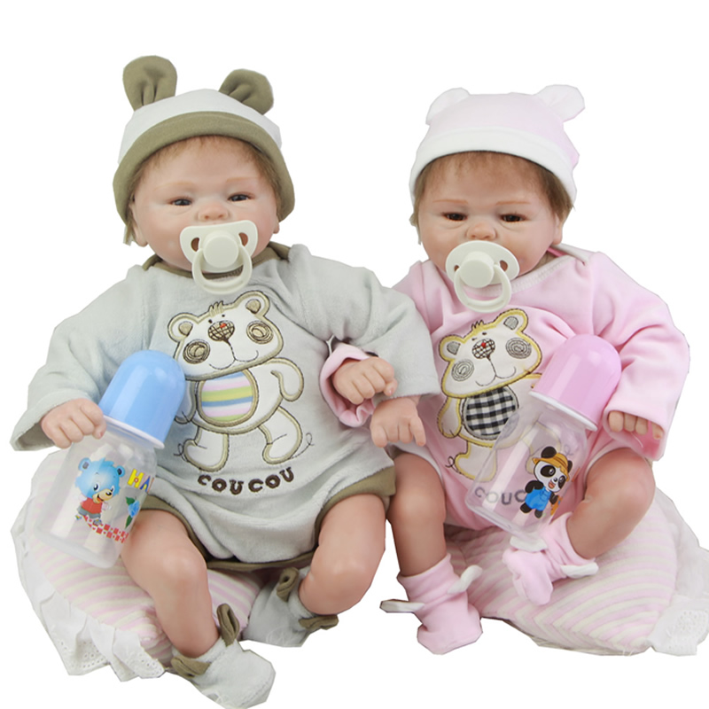 Reborn Baby Girl And Boy Soft Silicone 17 Inch 43 cm Newborn Twins Babies With Handmde Bear Clothes Kids Birthday Xmas Gift
