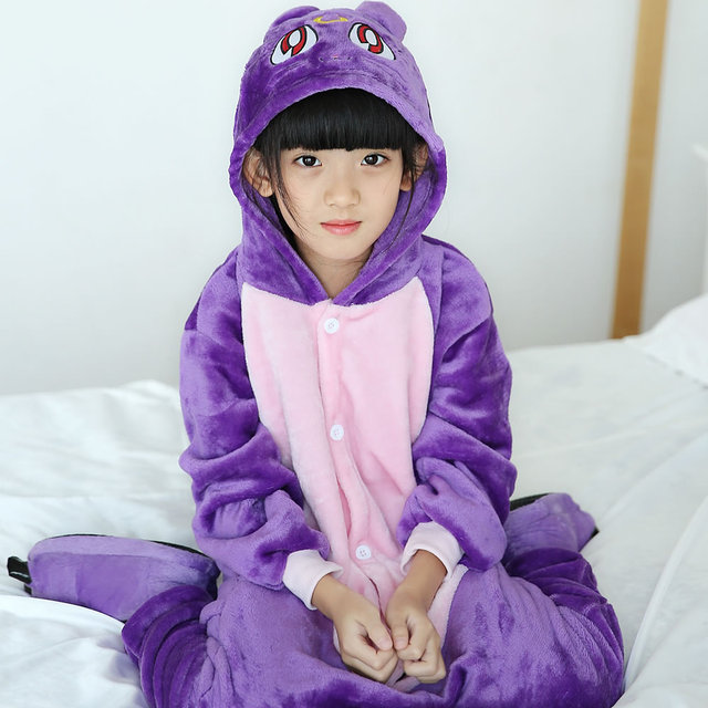 4981c0da4f75 Purple pajamas cat girls clothes warm sleepwear coral fleece nightgown  pyjamas gato kids cute pajamasde sleepwear home clothing