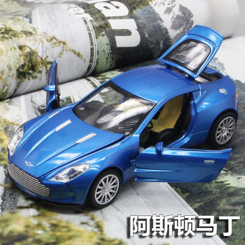 1:32 Toy Car Aston Martin Metallegering Dimmad bilmodell Miniatyrskala Modell Ljud och ljus Elektriska billeksaker för barn