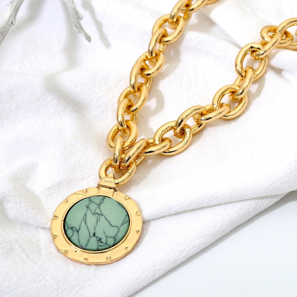 KMVEXO European and American Fashion Gold Color Temperament Round Resin Statement Vintage Chain Bib Necklaces 19 New 7