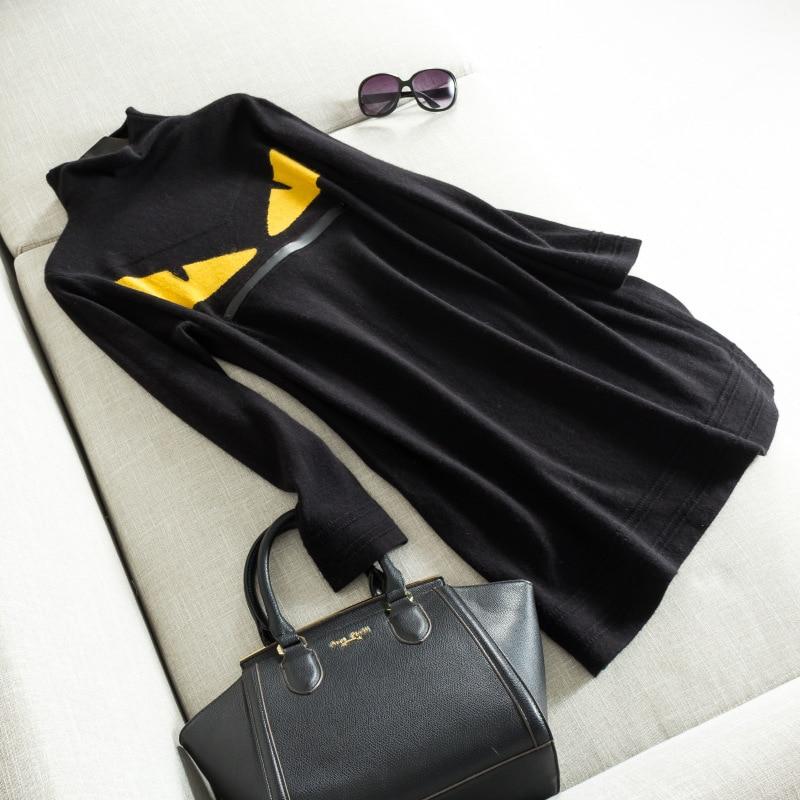 가을 겨울 새로운 여성의 절반 높은 칼라 벨벳 작은 괴물 니트 드레스-에서드레스부터 여성 의류 의  그룹 1