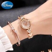 Women Gold Silver Stainless Steel Fashion Simple Quartz Bracelet Watch Genuine Disney Mickey Element Style Cute Girls Clock New