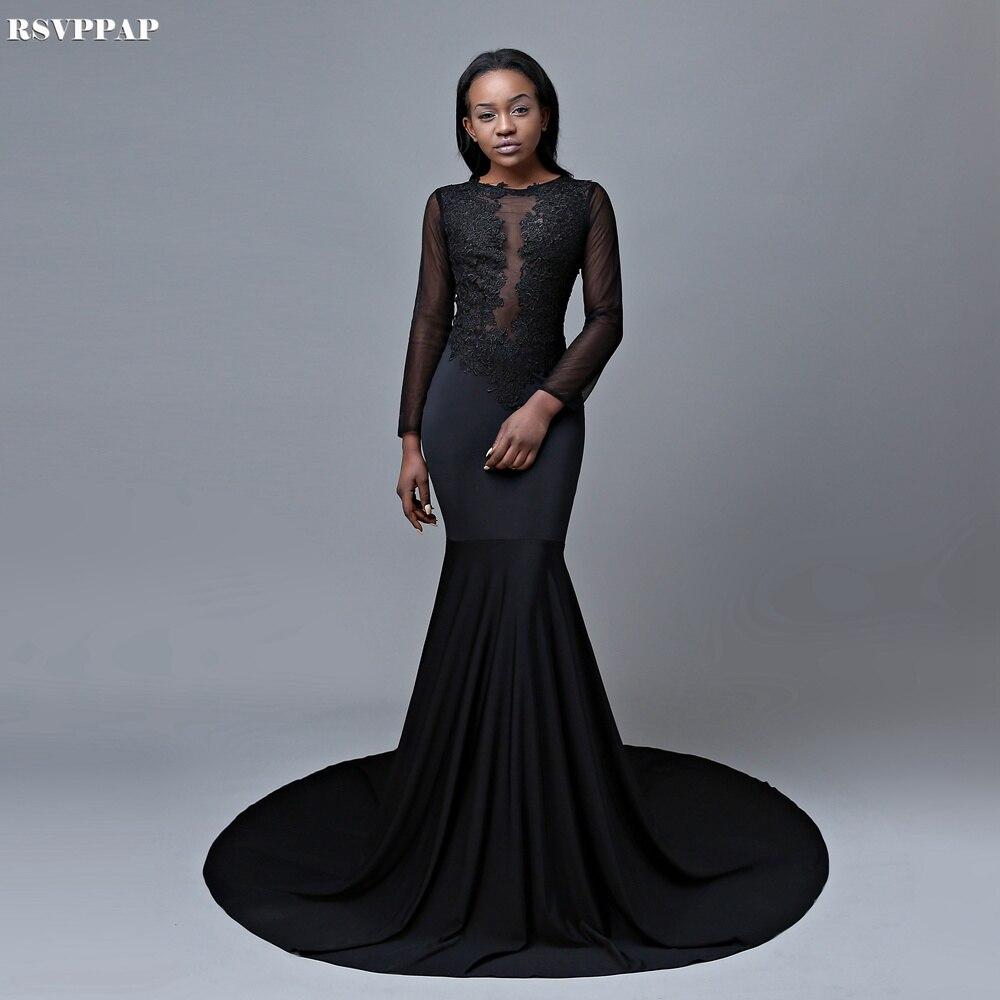 Elegant Long Sleeve Prom Dresses 2018 Mermaid Gold Lace Backless ...