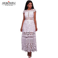 SEBOWEL 2017 White Elegant Long Maxi Dress Sexy Hollow Out Lace Dresses For Women Short Sleeve
