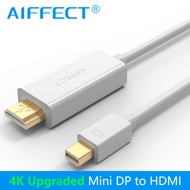 AIFFECT 4K Mini DP to HDMI Cable Mini DisplayPort Thunderbolt Display Adapter for Macbook Pro Air Projector Camera TV Support 3D цены онлайн