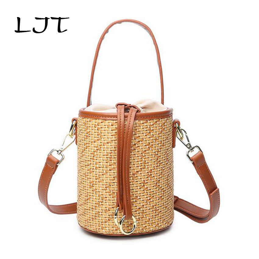 LJT Woman Summer New Retro Straw Bucket Bag Mini Vegetable Small Basket Bag Leisure Crossbody Shoulder Bags for Women 2018 Bali