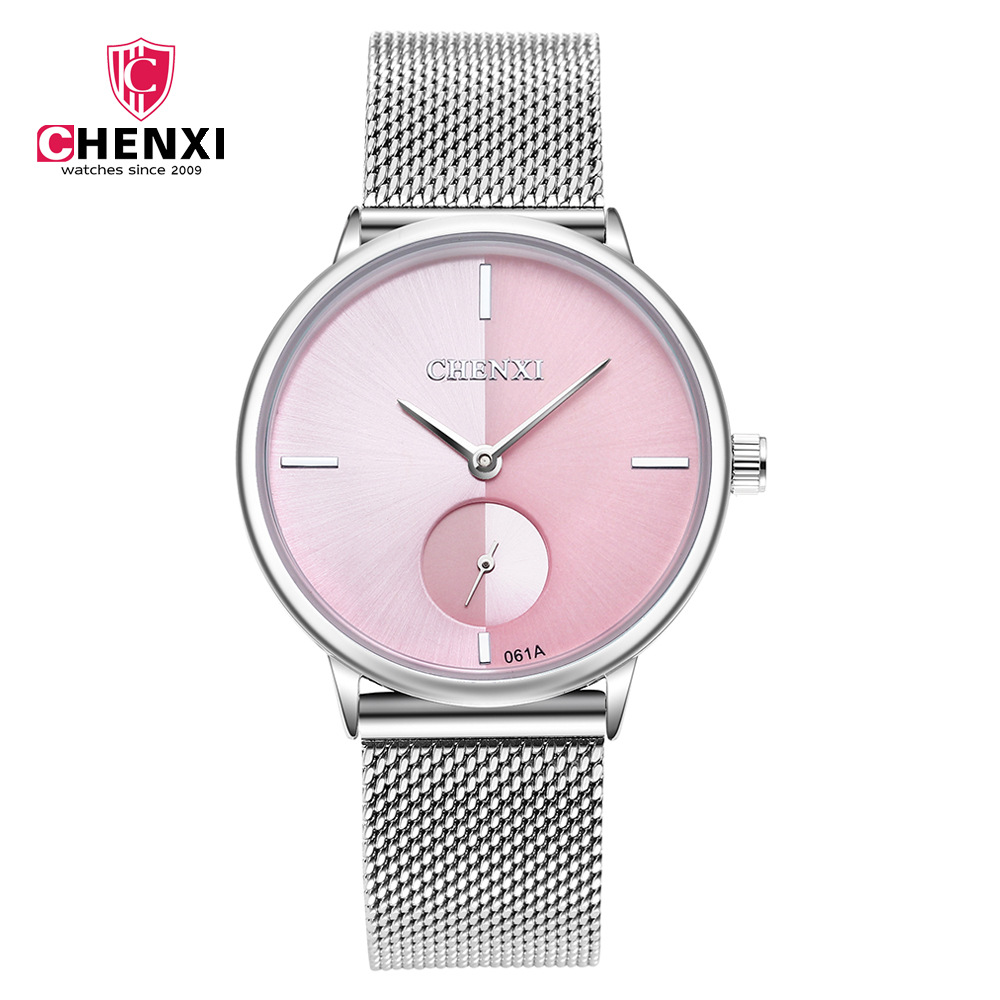 CHENXI Women Watches Top Brand Luxury Stainless Steel Mesh Band Silver casual Watch Lady Business quartz watch Relogio Feminino xinge top brand luxury women watches silver stainless steel dress quartz clock simple bracelet watch relogio feminino