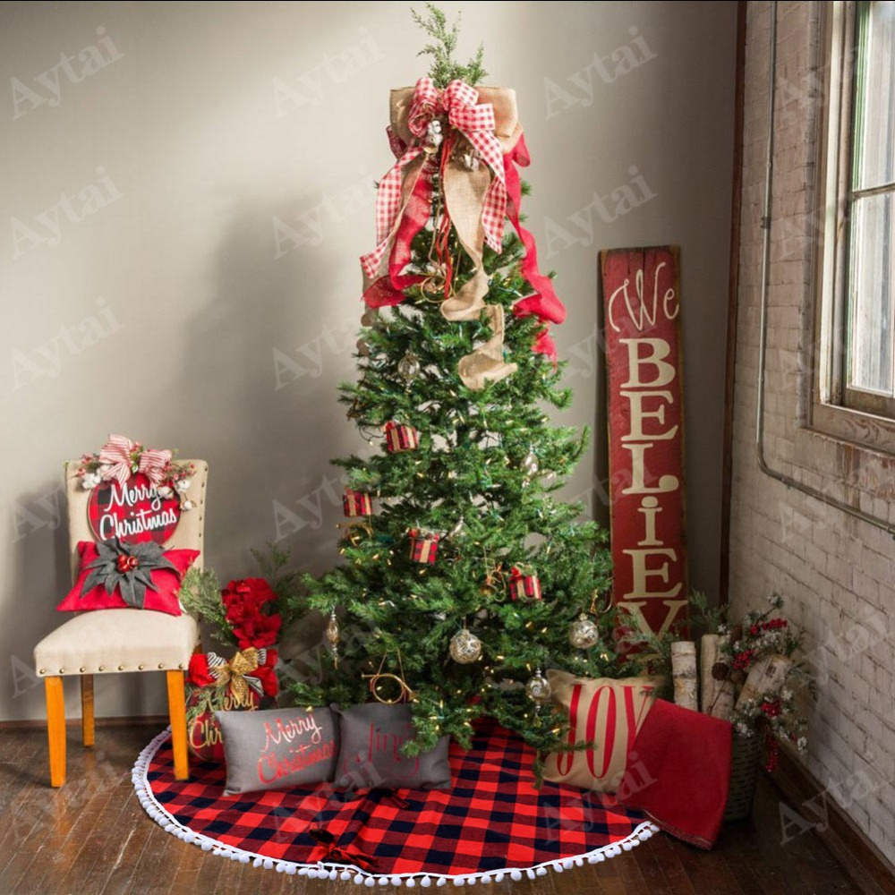 aytai 48 inch plaid christmas tree skirt with red and black double layers fine decorative xmas tree skirt christmas accessories in tree skirts from home