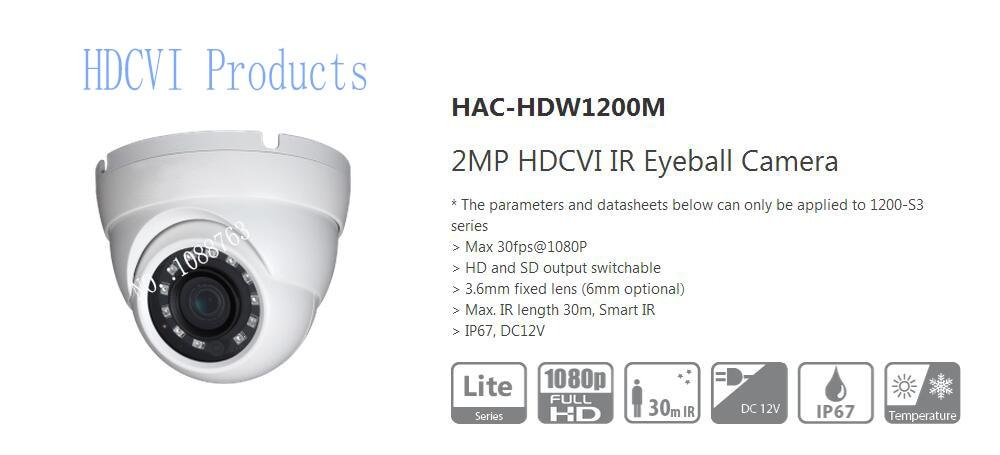 Free Shipping DAHUA 2MP 1080P Water-proof IR HDCVI Mini Dome Camera IP67 Without Logo HAC-HDW1200M dahua 2 1mp 1080p vandal proof wdr ir hdcvi mini dome camera ip67 ik10 security cctv outdoor camera without logo hac hdbw2221e