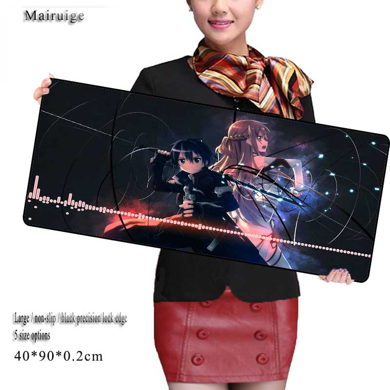 Mairuige Sword Art Online Large Game Gaming Mouse Pad 900*400mm High Quality DIY Picture with Edge Locking Mouse Mat for CSGO