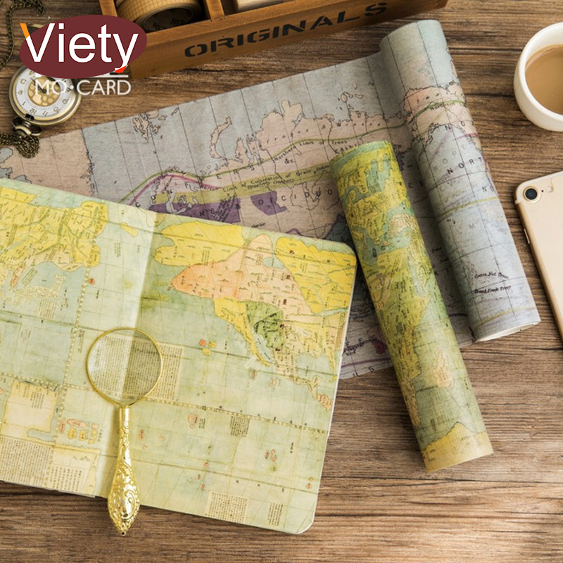 20cm*5m Vintage travel map washi tape DIY decoration scrapbooking planner masking tape adhesive tape label sticker stationery 3pcs box ancient chinese famous painting calligraphy peotry retro wooden box decoration washi diy planner scrapbook masking tape