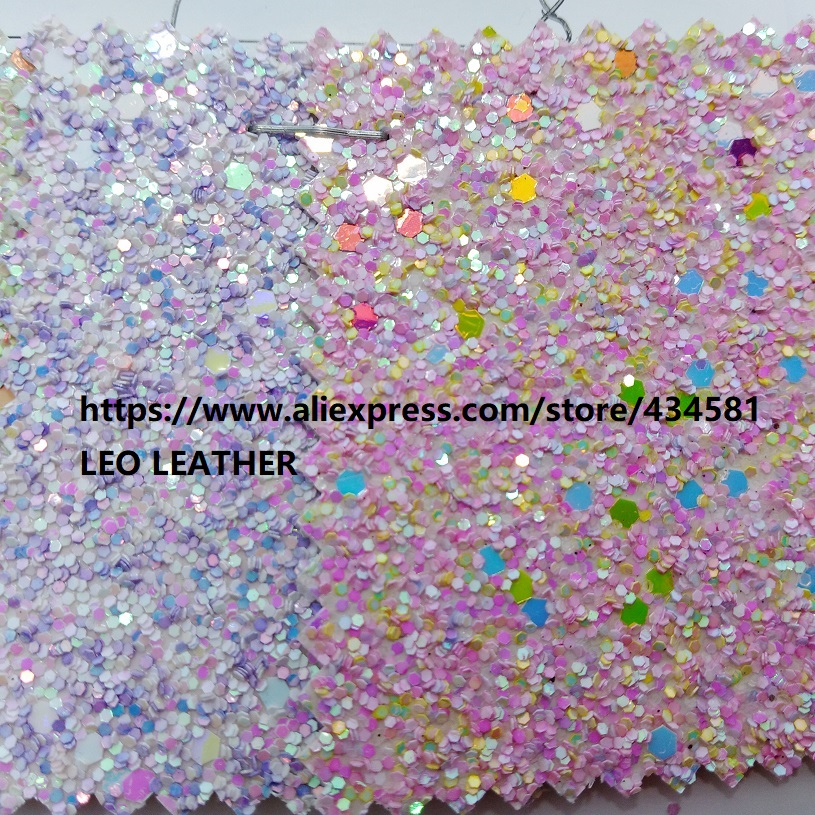 New Arrival Chunky Glitter Leather Synthetic Leather Fabric for shoes handbags sofa bows and DIY Accessoires
