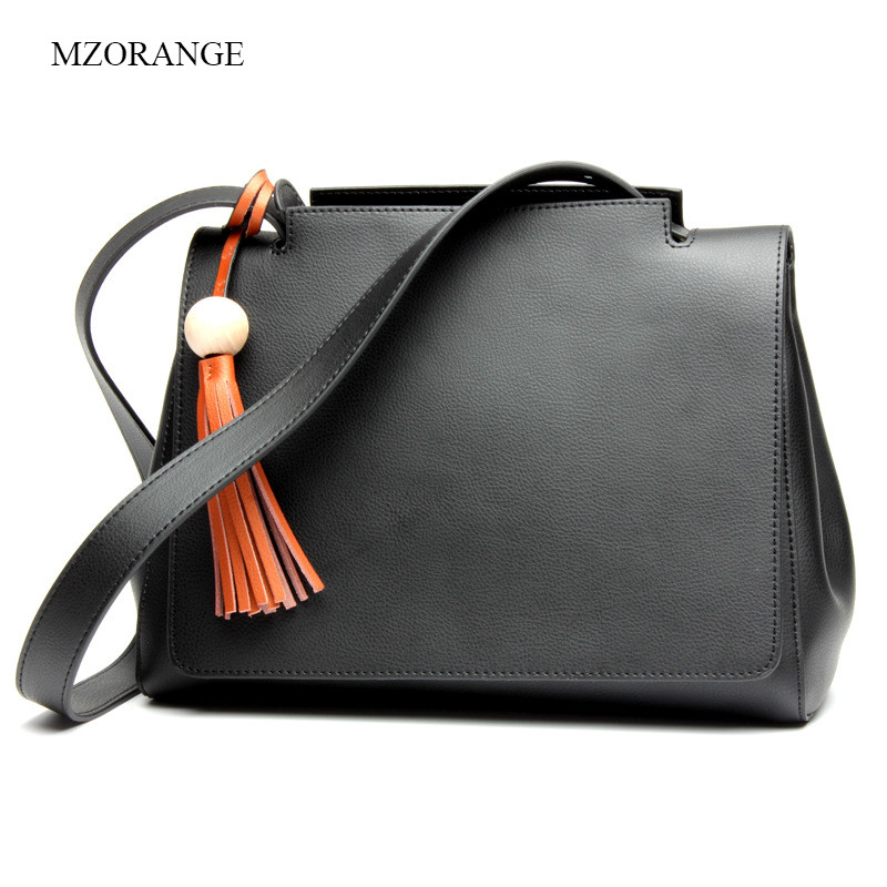 MZORANGE Genuine Leather Women Handbags Tassel Spring Female Shoulder Bag Fashion Ladies Totes High Capacity Big Crossbody Bag women bag set top handle big capacity female tassel handbag fashion shoulder bag purse ladies pu leather crossbody bag