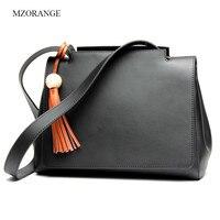 MZORANGE Genuine Leather Women Handbags Tassel Spring Female Shoulder Bag Fashion Ladies Totes High Capacity Big