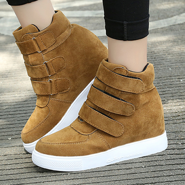 Fashion Hidden Wedges Canvas Shoes Women Casual Shoes Ladies Platform Trainers High Heel Top Boots Chaussure Femme