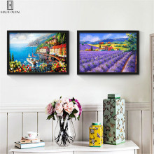 Beautiful Foreign Countryside Landscape Villages Buildings Waterfall Flower Maple Leaf Mountains Canvas Paintings For Home Decor