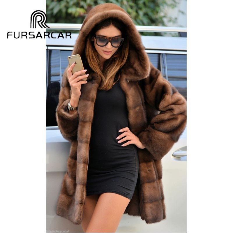 FURSARCAR 2018 New Arrival Luxury Natural Mink Fur Coats For Women With Big Fur Hood 80 CM Long Genuine Mink Fur Female Coat
