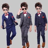 Boys Suits for Weddings Kids Blue Jacket+Vest+Pants 3 pieces/set Toddler Boy Blazer Suit Children Costume Garcon Mariage Blazers