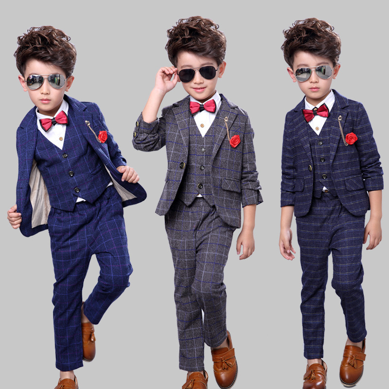 Boys Suits for Weddings Kids Blue Jacket+Vest+Pants 3 pieces/set Toddler Boy Blazer Suit Children Costume Garcon Mariage Blazers 2016 new arrival fashion baby boys kids blazers boy suit for weddings prom formal wine red white dress wedding boy suits