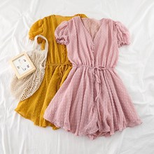 Women V Neck Polka Dot Chiffon Wide Leg Short Rompers Short Sleeves Korean Beach Overalls Loose Casual Summer Wide Leg Playsuits недорого