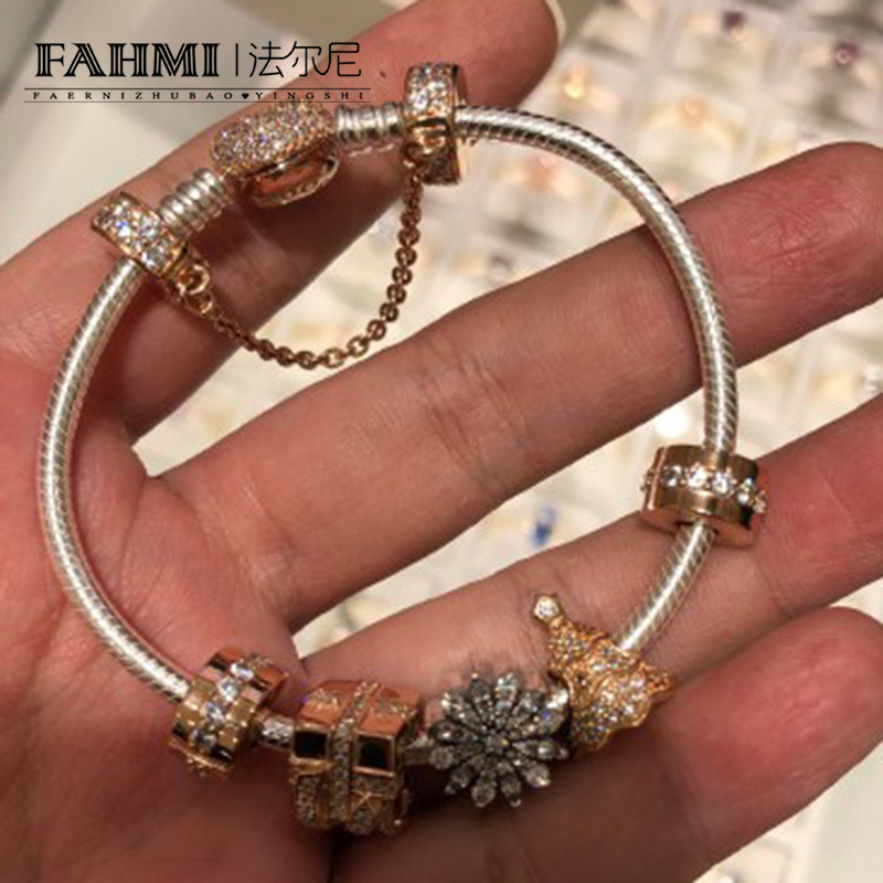 FAHMI 100% 925 Sterling Silver NEW Christmas Bracelet Set Christmas Tree Snowflake Charm Original Jewelry Women Gift flannel thin snowflake christmas tree bath rug