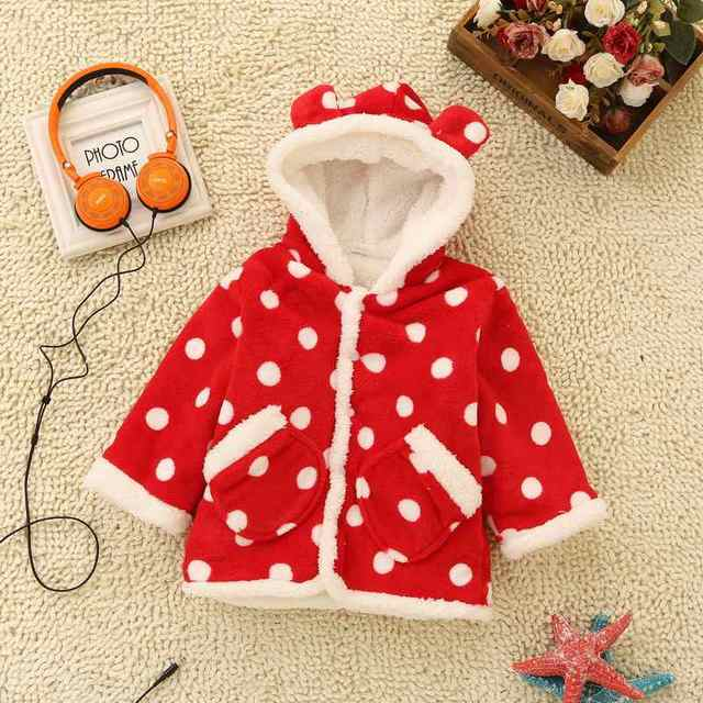 2016 Newest Winter Girls Jacket  Kids Outwear Thick Cute Dot Print Sweet Cotton-Padded Clothes Flannel Children's Coat Clothing