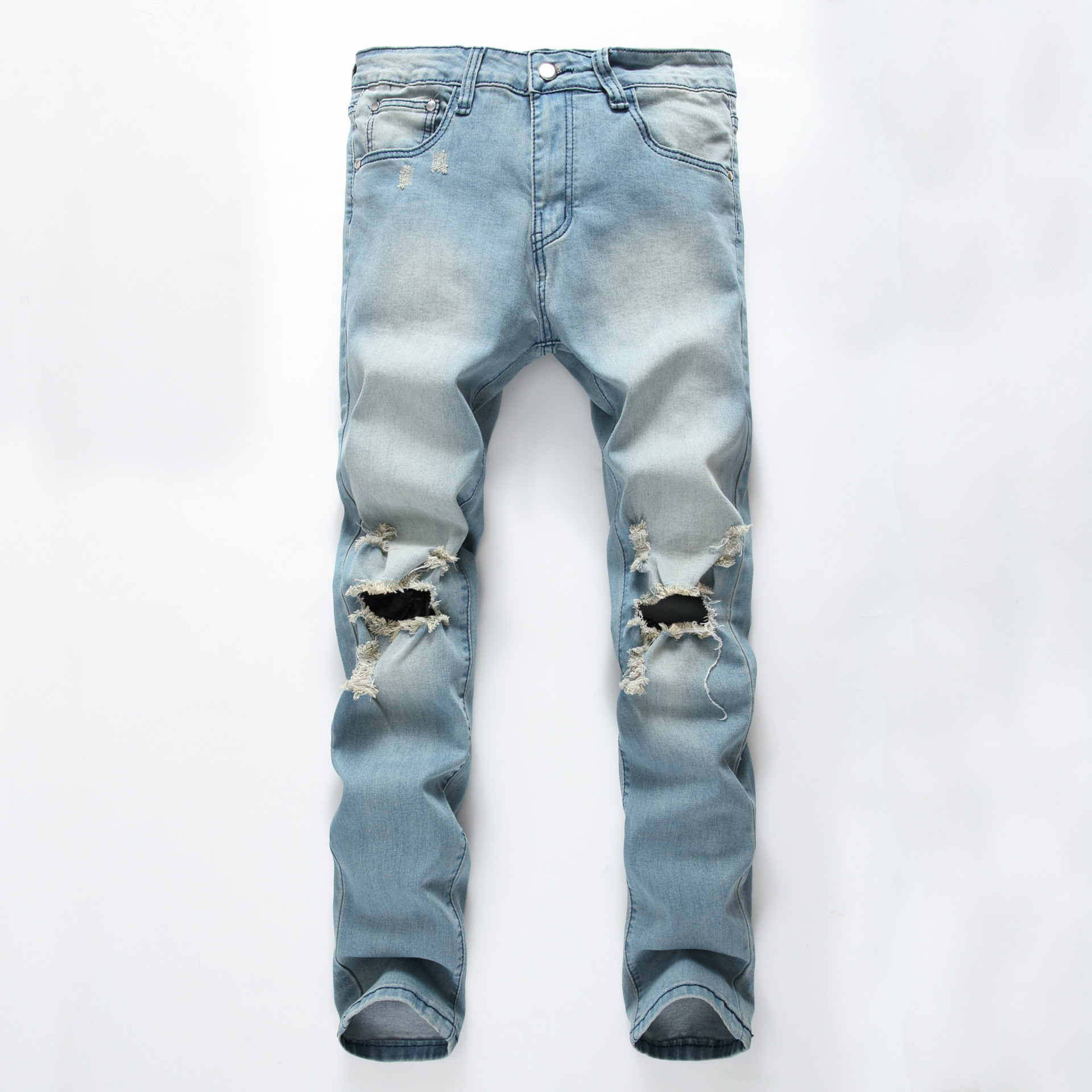 ФОТО 2016 New Arrival Distressed Jeans Men Ripped Jeans Famous Brand Clothing Light Blue Colour With Big Holes Kanye West Jeans