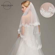 2019 New Real picture 1.5 Meters Two Layers Ivory Lace Appliques Long Elegant Wedding Bridal Veils Accessories With Comb