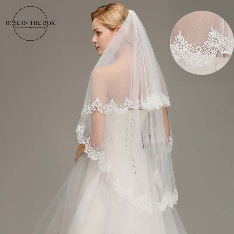 Real Picture 1.5 Meters Two Layers Soft Tulle Ivory Lace Edge Short Wedding Bridal Veils With Comb Wedding Accessories