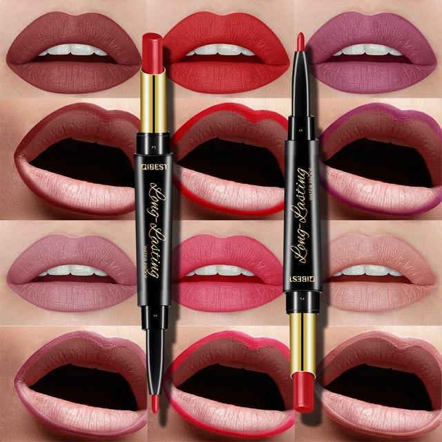 15 Color Lips Makeup Lipstick Sexy Red Lip Matte Long Lasting Lip Pencil Waterproof Stick Liner Double-end Black Matte Lipsticks 1