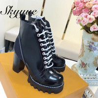 SKYYUE New Genuine Leather Sexy Platform Chunky Heel Women Boots Round Toe Lace Up Thick Heel Motorcyle Boots Shoes Women
