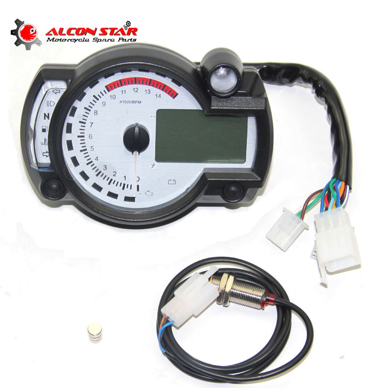Alconstar- White Panel Universal Motorcycle LCD Digital Gauge Tachometer Speedometer Adjustable Motorcycle Instrument for Honda image