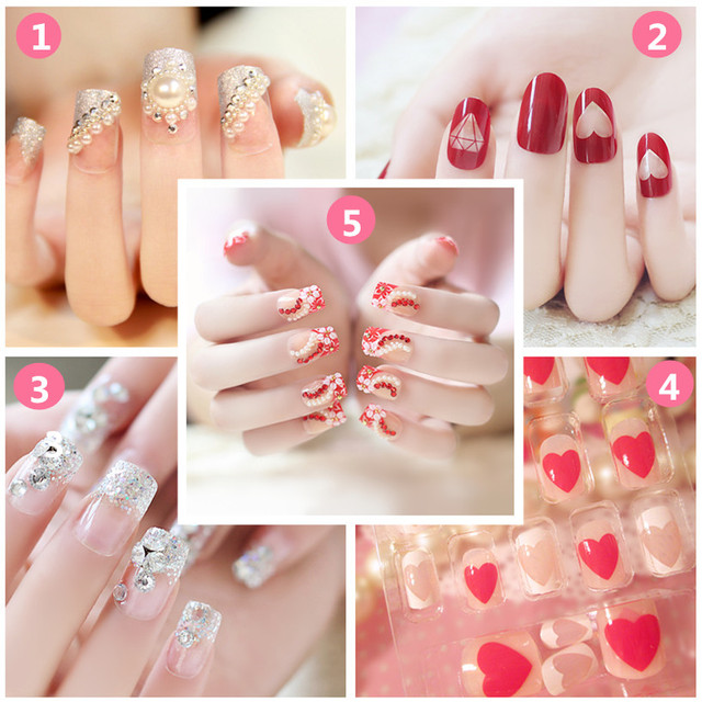 24pcs 3D Fake Nails Ongles Full Nails Tips Art Decoration False Nails DIY  Manicure For Wedding