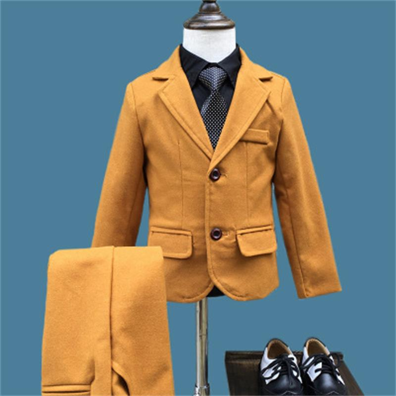 High quality Boys Suits 2018 Autumn Winter New Style Children Kids Wedding Clothes 2 Pieces Sets yellow Fashion OutfitsHigh quality Boys Suits 2018 Autumn Winter New Style Children Kids Wedding Clothes 2 Pieces Sets yellow Fashion Outfits