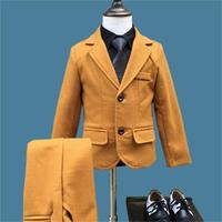 High quality Boys Suits 2018 Autumn Winter New Style Children Kids Wedding Clothes 2 Pieces Sets yellow Fashion Outfits