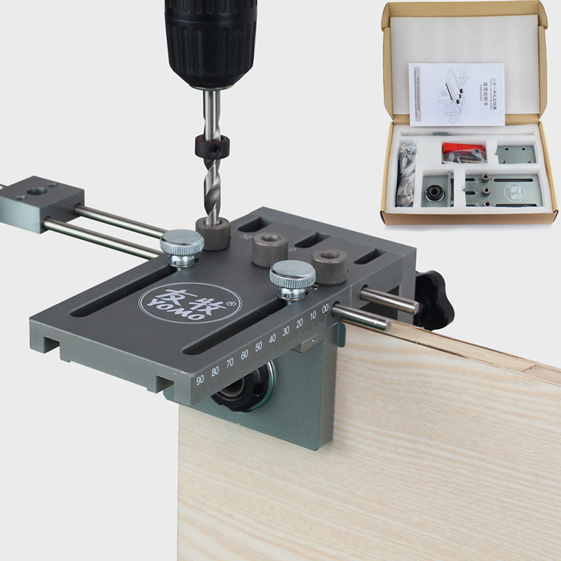free shipping 3 in 1 punch positioner Dowel drill kit for Furniture Fast Connecting Woodworking Drilling