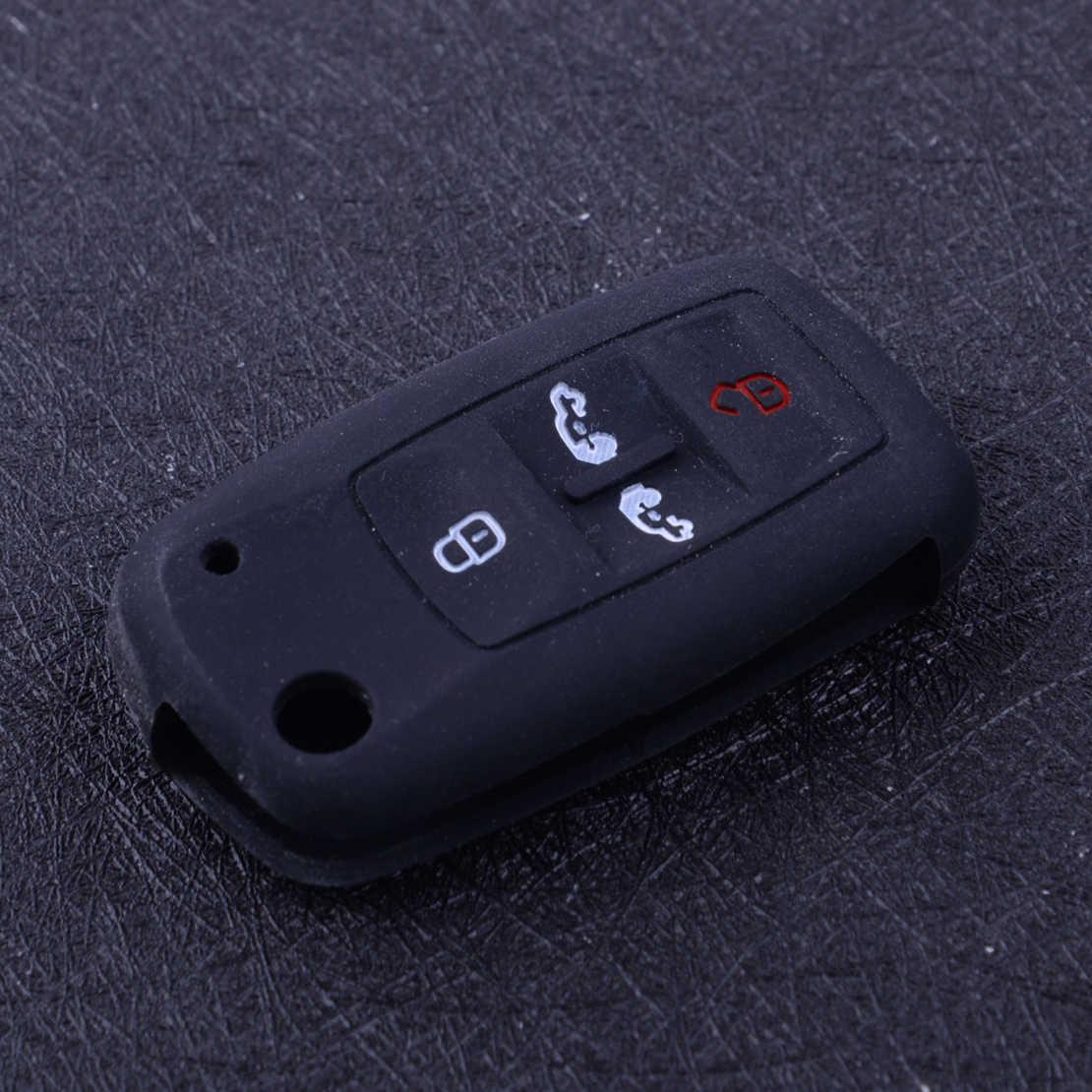 Beler preto silicone 4 botões remoto chave capa caso fob protetor titular apto para vw t5 transportador multivan caddy alhambra